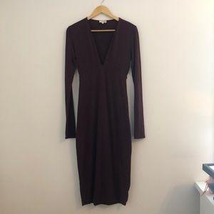 Wilfred Free Deep-V Midi Dress